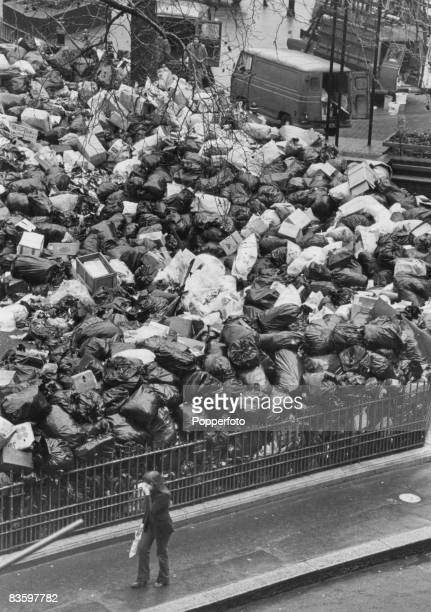 A large pile of uncollected rubbish in Leicester Square London after it was designated a 'Council Refuse Centre' during a strike by refuse collectors...