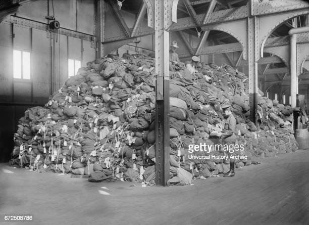 Large Piles of Soldier's Bags after Returning from Europe at End of World War I New York City New York USA Bain News Service 1919