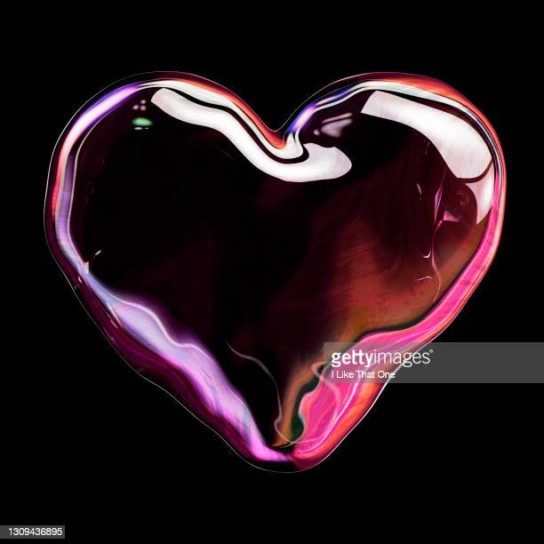 a large pink bubble shape forming a heart - atomic imagery stock pictures, royalty-free photos & images