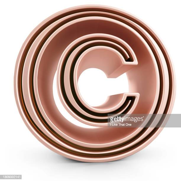 a large pink gold © copyright sign - atomic imagery stock pictures, royalty-free photos & images