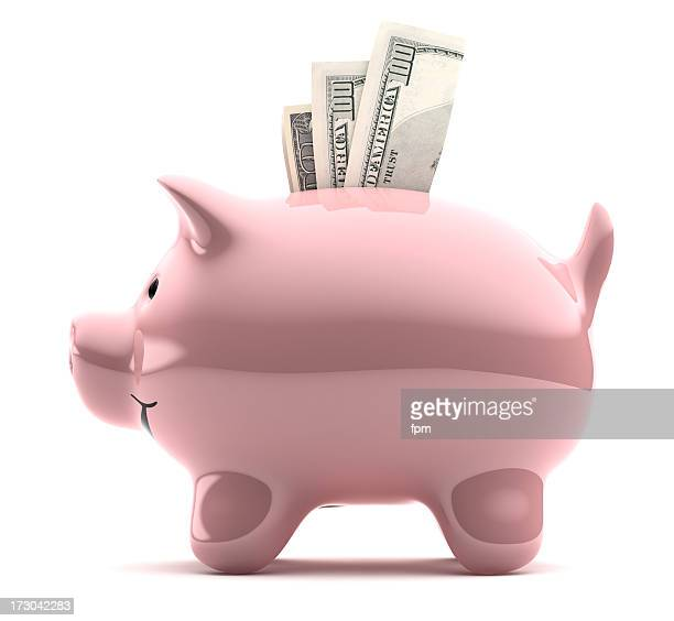 Large pink piggy bank filled with notes