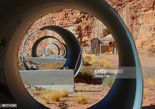 Large pipes frame the entrance of Energy Files Resources Tony M Uranium Mine on October 27 2017 outside Ticaboo Utah The mothballed mine use to...