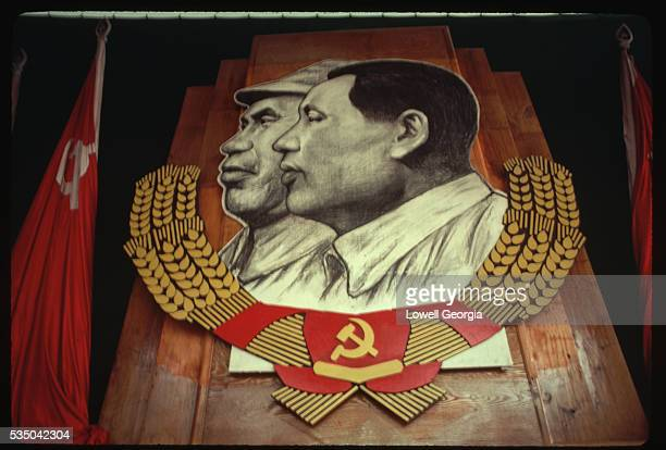 A large placard of Mao Zedong and Zhu De hangs in the Party Congress Hall in Yan'an Yan'an was the Chinese Communist's base during World War II