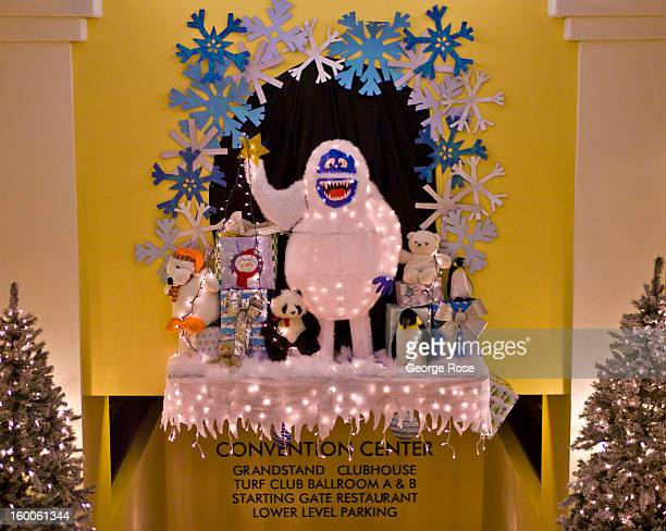 A large plastic abominable snowman is displayed in the lobby of the Santa Ynez Valley Marriott Hotel is decked out with holiday lights and...