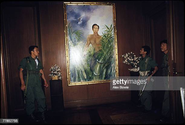 A large portrait of exPresident Ferdinand Marcos of the Philippines hanging in his former home at Malacanang Palace Manila 3rd March 1986 Marcos and...