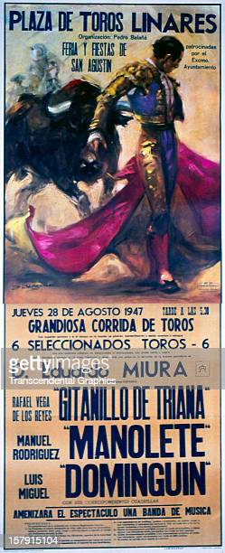A large poster for a bullfight was printed for an event circa 1900 in San Agustin Spain