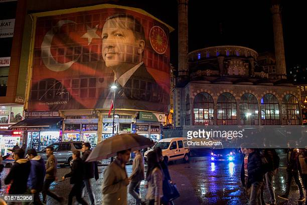 A large poster of Turkish president Recep Tayyip Erdogan is seen on a main street on October 25 2016 in Rize Turkey Although born in Kasimpasa...