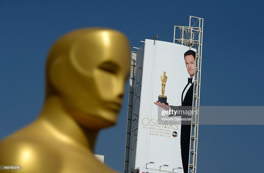 A large poster showing actor Neil Patrick Harris holding an Oscar statue is seen on Hollywood Boulevard during preparation of 87th Annual Academy Awards at Dolby Theater February 18, 2015 in Hollywood, California.