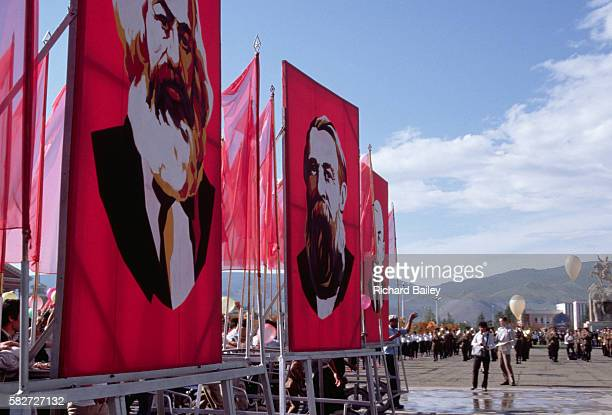Large posters of Marx Engels and Lenin for the National Day Parade in Sukhe Bator Square in Utan Bator Mongolia | Location Utan Bator Mongolia
