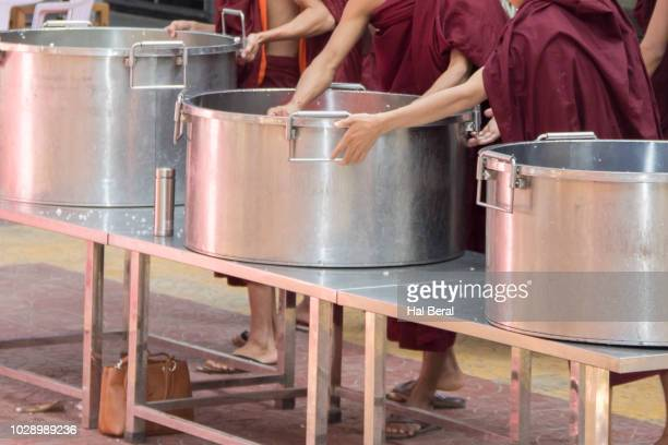 large pots used for cokking monks meals at a monastery - for stock pictures, royalty-free photos & images