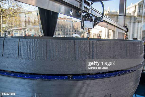 A 3D large printer making a copy of Star Wars Death Star coinciding with the release of Rogue One film