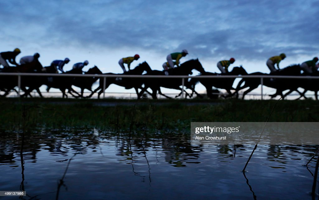 Large puddles form on the inside of the track after heavy rain over the weekend at Fairyhouse racecourse on November 29, 2015 in Ratoath, Ireland.