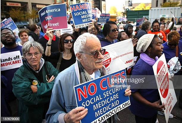 A large rally was held at the Wang Center to protest proposed cuts to social security medicare and medicaid Some of the protestors made their way to...