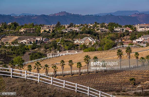 Large ranch-style homes dot the Temecula Valley landscape on February 24, 2014 in Temecula, California. Temecula Valley, Southern California's Wine...