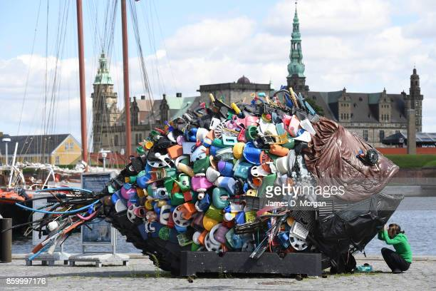 Large recycled plastic fish sculpture in Helsingor situated infront of the Kronborg Castle in Helsingor in Denmark in July 28th 2017