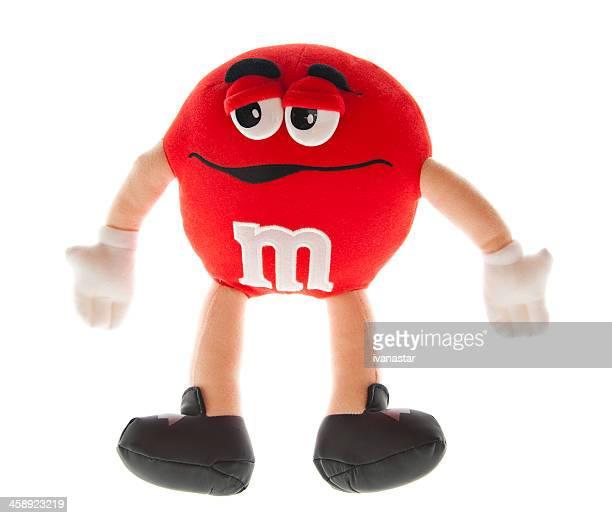grande rojo m & m candy lujosas doll - candy dolls fotografías e imágenes de stock