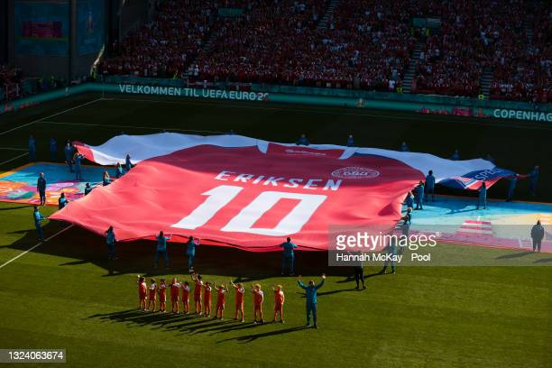 Large replica Denmark shirt with Christian Eriksen, Number Ten is displayed on the pitch prior to the UEFA Euro 2020 Championship Group B match...