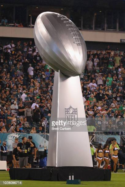A large replica of the Vince Lombardi Trophy is seen at Lincoln Financial Field on September 6 2018 in Philadelphia Pennsylvania