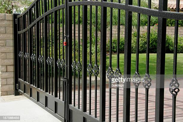 large residential security gates - gate stock pictures, royalty-free photos & images