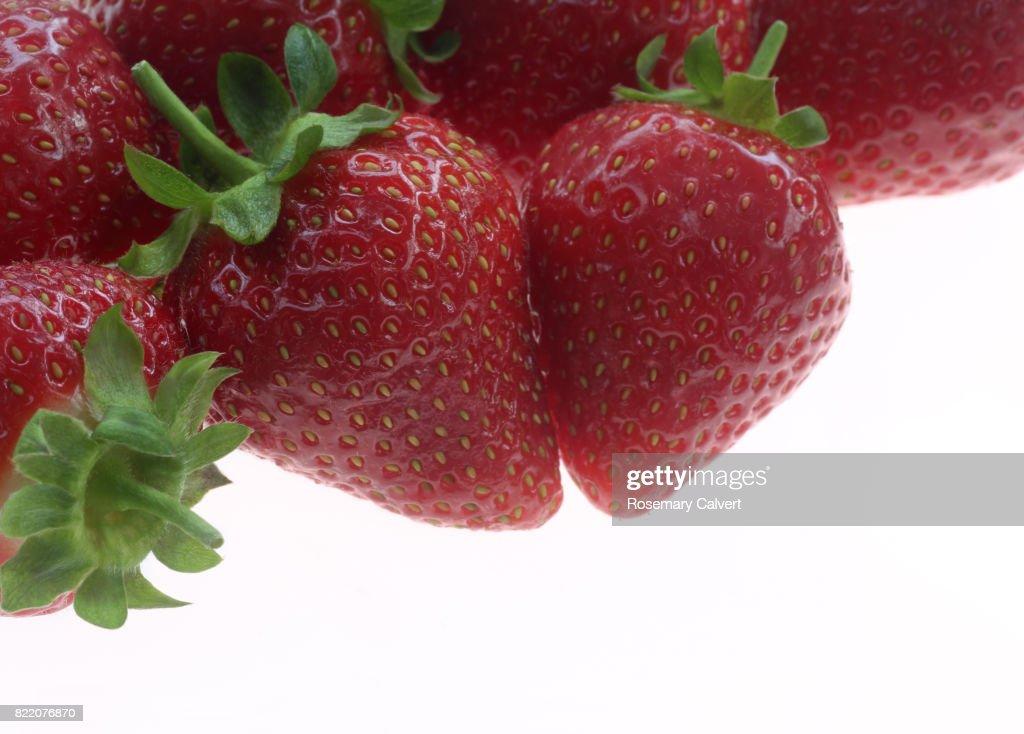 Large, ripe, juicy strawberries on white. : Stock Photo