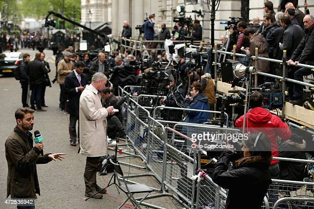 Large risers and fenced areas hold journalists in place outside 10 Downing Street May 8 2015 in London United Kingdom After the United Kingdom went...