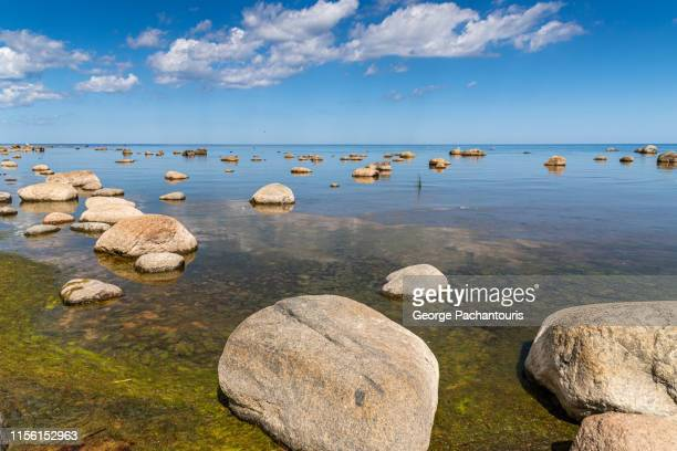 large rocks on a beach - latvia stock pictures, royalty-free photos & images