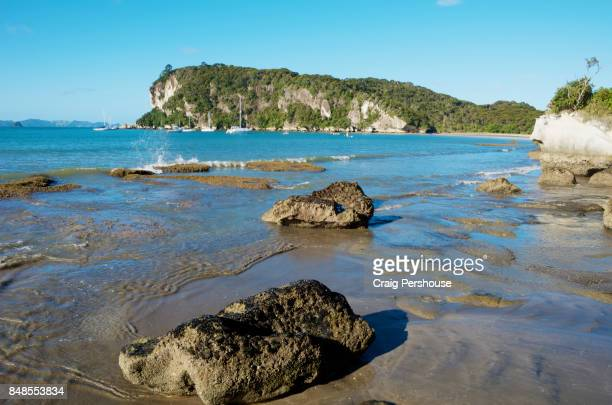 Large rocks on Cooks Beach, Mercury Bay.