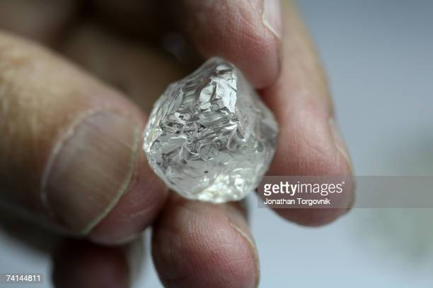 A large rough diamond before being evaluated and cut at one of the trading companies at the giant complex of the Israeli diamond exchange November...