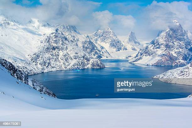large sailing ship in a scenic fjord, western greenland - greenland stock pictures, royalty-free photos & images