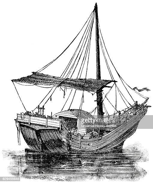 Large Sailing Vessel YangTse River China 'Classical Portfolio of Primitive Carriers' by Marshall M Kirman World Railway Publ Co Illustration 1895