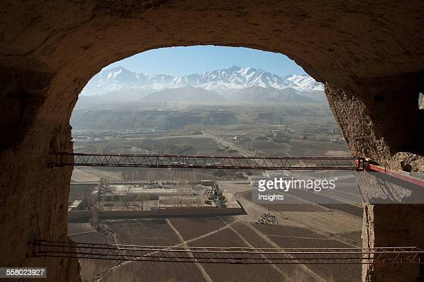Large Scaffolding For The Emergency Consolidation Of The Niche Of The Small Buddha Destroyed By The Taliban In 2001 In Bamiyan Bamian Province...