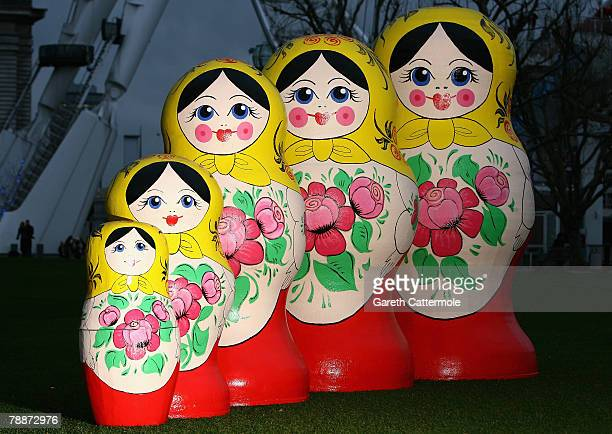 Large scale custommade Russian nesting dolls are unveiled next to the British Airways London Eye on January 10 2008 in London England The dolls known...