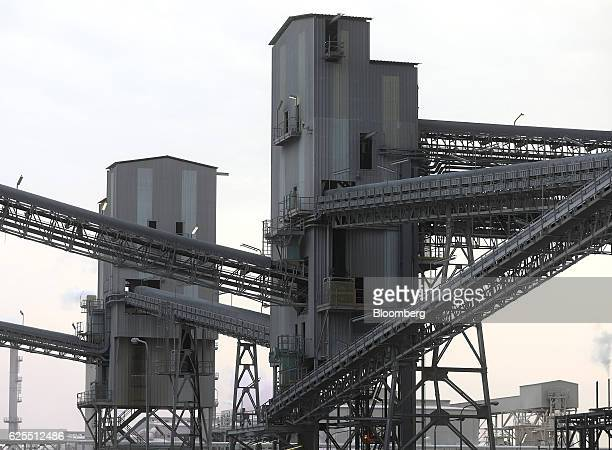 Large scale industrial conveyor systems carry diammonium phospate to the processing plant at the Ras Al Khair Industrial City operated by the Saudi...