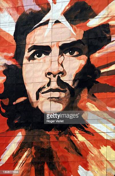 A large scale portrait of Argentine Marxist revolutionary Ernesto 'Che' Guevara in Havana Cuba 1988