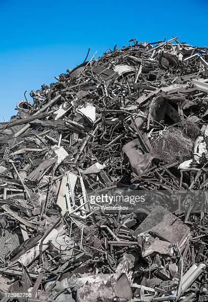 Large scrap metal heap in recycling yard
