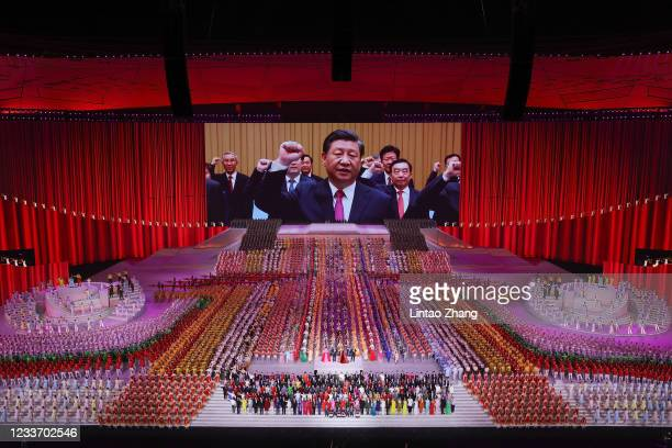 Large screen showing President Xi Jinping during the art performance celebrating the 100th anniversary of the Founding of the Communist Party of...
