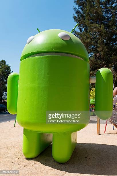 Large sculpture representing the Android cellphone operating system at the Googleplex headquarters of the search engine company Google in the Silicon...