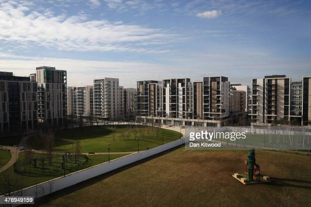 Large sculpture stands in the grounds of the newly transformed 'East Village' near the Olympic Stadium on March 5, 2014 in London, England. The...