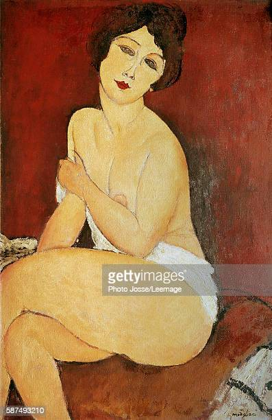 Large seated nude Painting by Amedeo Modigliani 1917 1 x 065 m Private collection