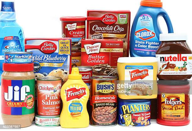 large selection of brand name groceries - brand name stock pictures, royalty-free photos & images