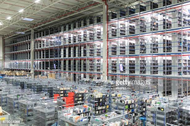 Large shelves and racks in distribution storehouse