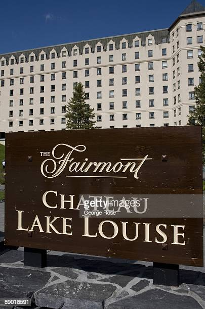 A large sign greets tourists to the Fairmont Chateau Hotel in this 2009 Lake Louise Canada summer afternoon landscape photo