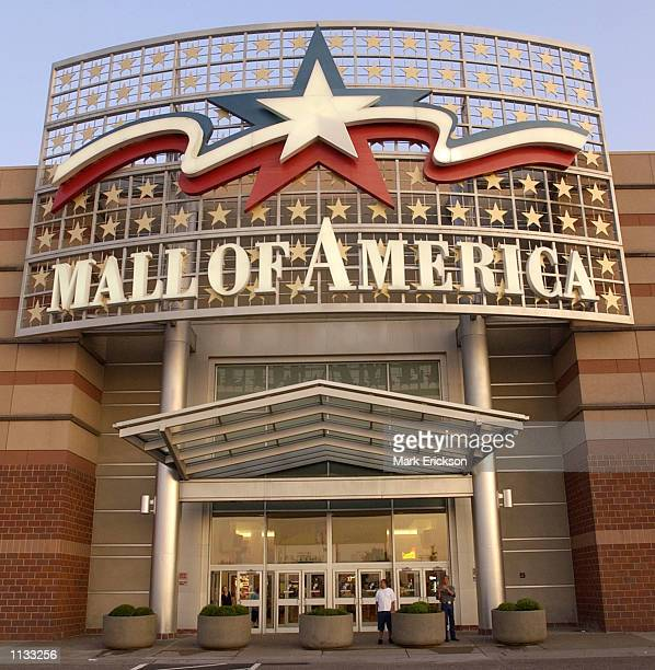 Large sign hangs above an entrance to the Mall of America July 16, 2002 in Bloomington, Minnesota. The Mall of America is the largest shopping mall...
