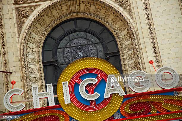 large sign outside the historic chicago theatre - chicago theater stock pictures, royalty-free photos & images