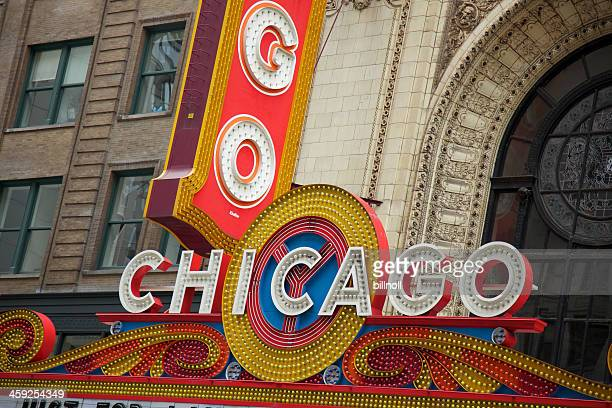 Large sign outside the historic Chicago Theatre
