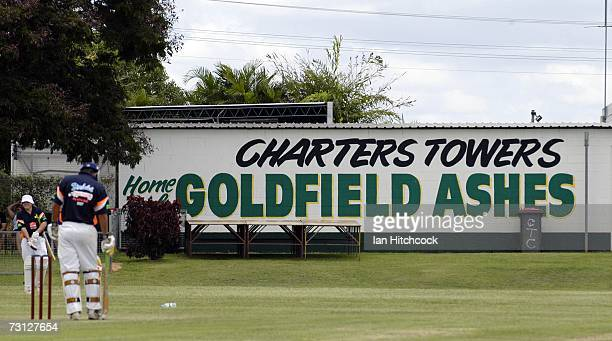 A large sign printed on the side of a building is seen advertising the cricket carnival the Goldfield Ashes January 26 2007 in Charters Towers...