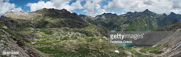 Large Size Panorama View Of Lake Robiei And Lake Zott In The Swiss Lepontine Alps, Ticino, Switzerland