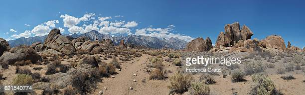 Large Size Panorama View Of The Alabama Hills In Lone Pine, California