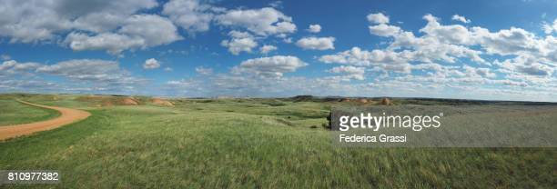 large size panoramic view along sage creek road, badlands national park - great plains stock pictures, royalty-free photos & images