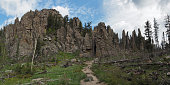 Large Size Panoramic View Of Cathedral Spires Trail, The Needles, South Dakota